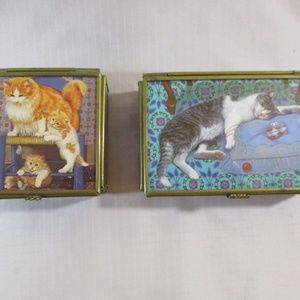 Via Vermont (2) Cat Stained Glass Trinket Boxes